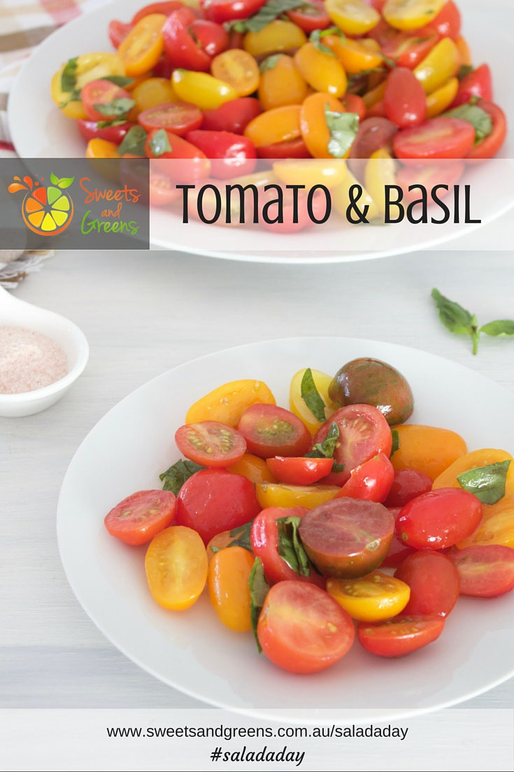 Day 31 of Salad a Day Tomato and Basil. This is a simple salad with only a few ingredients. Tomatoes and basil are the basis. Add some salt, pepper and oil