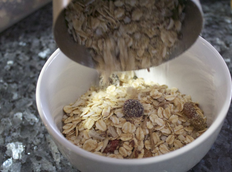 Make this breakfast muesli in bulk once a fortnight and then each morning breakfast is just takes 2 minutes away. All the convenience none of the rubbish.