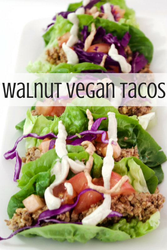 Vegan tacos are so quick and easy to make. Combine the walnut and spice mix with any vegetables and a variety of taco shells to provide choices for everyone