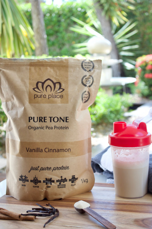 Pure Place protein powder has just four ingredients and is dairy free and GMO free. It's a smooth, fine powder that dissolves easily in plant-based milks.